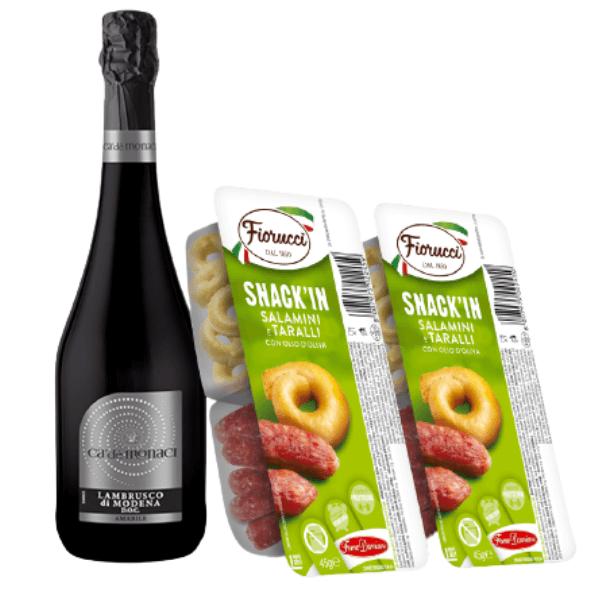 Kit Aperitivo – Lambrusco di Modena DOC Amabile e Snack'In Combo Salamini e Taralli Con Olio D'Oliva (45 g)