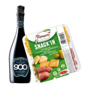 Kit Aperitivo – Spumante e Snack'In Poker Salamini, Cialde di Formaggio, Olive e Croccantelle Gusto Pizza (85 g)